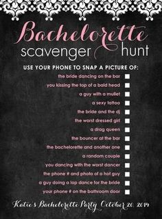 Bachelorette Party? Looks like a fun way to spice up the party with a Scavenger Hunt!:
