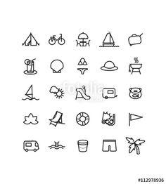 pictogrammes, pictos, icons, sur le thème de la plage, vacances, voyage, mer, soleil, camping