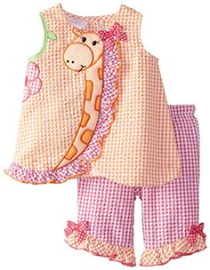 Bonnie Baby Baby-Girls Newborn Giraffe Seersucker Capri S. Toddler Dress, Toddler Outfits, Toddler Girl, Kids Outfits, Sewing Kids Clothes, Baby Sewing, Doll Clothes, Baby Girl Newborn, Baby Baby