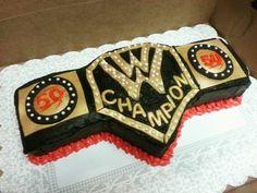 Wwe belt cake. Wrestling belt cake Wwe Birthday Cakes, Wrestling Birthday Parties, 40th Birthday Parties, Birthday Ideas, Wrestling Cake, Wrestling Party, Wwe Cake, Wwe Party, Wwe Belts