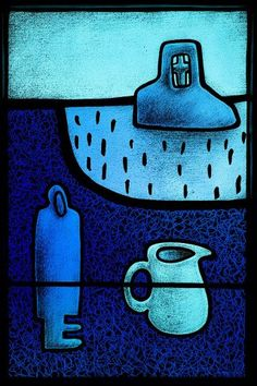 Lightbox Collection of Peadar Lamb, Tobar- Well. Etched and painted stained glass, 85 x 60cm, 2007
