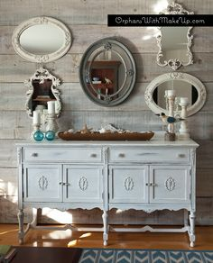 Planked wall, mirror display and painted sideboard orphanswithmakeup