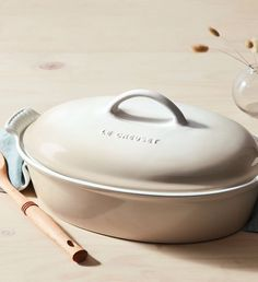Le Creuset Heritage Oval Casserole -- Prep. Set. Pass. Feast. This Le Creuset enameled casserole dish is a beautiful, useful addition to any Thanksgiving table. Even better? The Indigo version recently received an Architectural Digest 2019 Great Design Award.