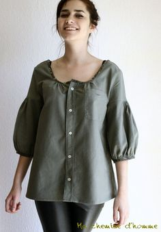 Summer sale 30% off - Recycled  Upcycled man's shirt khaki tunic - US 6 / EU 38. €75.00, via Etsy.
