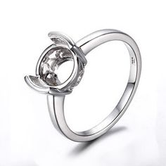 Round-8-5-9-5mm-Semi-Mount-Ring-Setting-Sterling-Silver-925-Plate-White-Gold