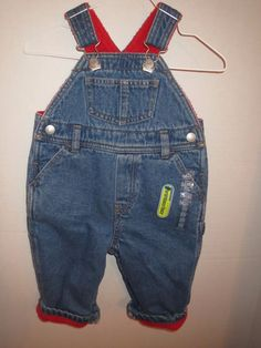 6-12 Months Old Navy Carpenter Denim Blue Jean Overalls Red Fleece Lined New NWT #OldNavy #Overalls #Everyday