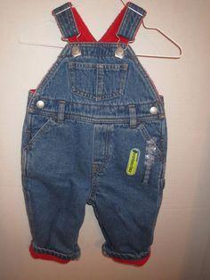 6-12 Months Old Navy Carpenter Denim Blue Jean Overalls Red Fleece Lined New NWT #OldNavy #Overalls #Everyday