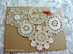 DIY Vintage Doily Art DIY Vintage Doily Art is easy to make using your doilies, burlap canvas and fabric glue. Your doilies will still have the integrity of beautiful lacy piece. Framed Doilies, Lace Doilies, Crochet Doilies, Doilies Crafts, Burlap Crafts, Diy Crafts, Doily Art, Lace Art, Crochet Projects