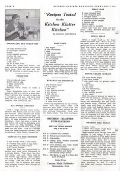 Kitchen Klatter Magazine, February 1940 - Doughnuts and Syrup Dip, Syrup Dip, Scalloped Chicken, Orange Ice Box Dessert, Loaf Cake, Pumpkin Pie Meringue, Meat Loaf, Mince Meat, Prune Cream Cookies, Swedish Rye Bread