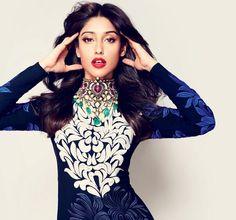 Blue Party Wear Embroidery Design....Ileana D'cruz in Harper's Bazaar India