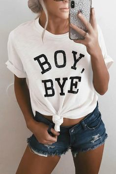 PansyGal Casual Round Neck Letters Printed White Cotton Blends T-shirt