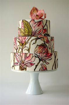 painted wedding cake. Painted with lavender roses instead?