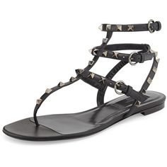 Valentino Rockstud Flat Gladiator Sandal ($1,060) ❤ liked on Polyvore featuring shoes, sandals, noir, flat pumps, leather flats, gladiator flats sandals, flat leather sandals and leather shoes
