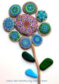 Hand Painted Stone Mandala Flower