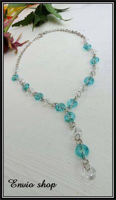 Modro-bílé kroužky Fashion Necklace
