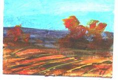 "Fall Fields acrylic painting 2.5""x3.5"" ACEO miniature by Jim Smeltz"