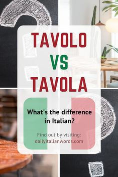 Have you ever wondered what the difference is between 'tavolo' and 'tavola' in the Italian language? Both translate to 'table' in English but there is a subtle difference in meaning as you'll discover by clicking the link! Italian Grammar, Italian Vocabulary, Italian Phrases, Italian Words, Italian Language, Korean Language, Japanese Language, Italian Lessons, French Lessons