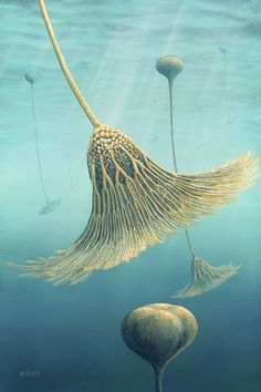 Scyphocrinites elegans (Silurian Period) It recently came to light that unlike other crinoids, scyphocrinites floated upside down in the water column, using a floating sphere called a lobolith.