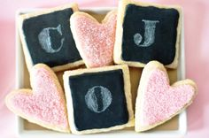 Adorable chalkboard cookies – Baby Shower, Wedding or Valentine's Day!