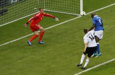 Italy's Mario Balotelli scores the opening goal past Germany goalkeeper Manuel Neuer, left, during the Euro 2012 soccer championship semifinal match between Germany and Italy in Warsaw, Poland Euro 2012, Germany And Italy, Goalkeeper, Scores, Mario, Warsaw Poland, Goals, Aliens, Play
