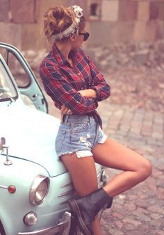 Loving the plaid+headband+boots and shorts combination!!!! The only thing I might change? Those big white pockets sticking out of the shorts. But overall, the whole thing is pretty cute! And, it could be be worn with black tights and short socks on colder days!! | best stuff