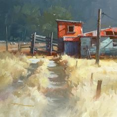 """""""Country Road"""" 15x15"""" Oil on Canvas by Richard Robinson."""