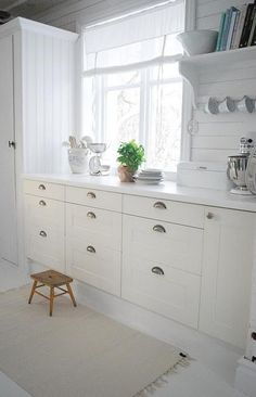 I am tempted to just bring in a paint sprayer and blast the interior of our kitchen in Vermont a pretty snowy white.