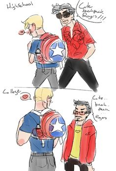hackedmotionsensors: Man that backpack is adorable. Also that's my attempt at Less than Zero(pre-coke) Tony. Stony Avengers, Superfamily Avengers, Avengers Comics, Stony Superfamily, Spideypool, Marvel Funny, Marvel Memes, Iron Man Capitan America, Captain America
