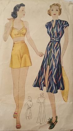 8349982550692 Vintage 1930s Simplicity Pattern 30s Beach Dress Shorts & Brassiere Halter  #2660. Retro Swim ...
