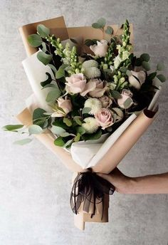 24 Best Floral Shop Ideas - fancydecors - Handheld bouquet of flowers with lots of eucalyptus and rannunculus and whites and pinks - Amazing Flowers, Fresh Flowers, Beautiful Flowers, Spring Flowers, Winter Flowers, Simple Flowers, Simply Beautiful, Bloom, Wedding Bouquets