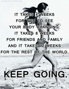 It takes 4 weeks for you to see your body changing. It takes 8 weeks for friends and family and it take 12 weeks for the rest of the world.   KEEP GOING.