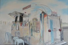 Oil painting by New Zealand artist Ronda Turk. Espresso. 610 mm x 9100 mm