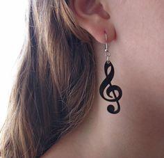 boucles d'oreilles note de musique - bijoux de musique - bijoux noir  EN PLASTIQUE FOU?