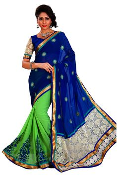 #GreeenWithBlue Shade #gorgette Saree @Rs.-1746/-