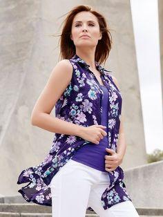 M&Co. Women Floral print sequin longline shirt