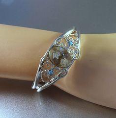 Heart Cuff Bracelet Stacking Inlaid Abalone Filigree