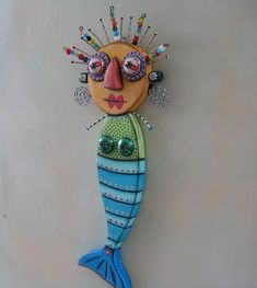 Blue Mermaid, Original Found Object Wall Art, Wood Carving by Fig Jam Studio