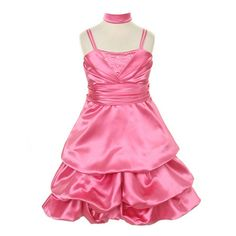 This dress by Princess Diaries is a fashion asset for any little girl's wardrobe.  A great flower girl dress! The pinkdress features spaghetti straps, rhinestone embellishment in  V-shape design, waistband and a shiny satin pick-up skirt. A shawl is inclu