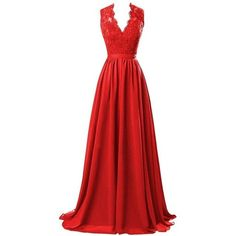 R&J Women's Modest V Neck Open Back Chiffon Long Evening Gown with... ($74) ❤ liked on Polyvore featuring dresses, gowns, red gown, red evening gowns, long red dress, long gowns and red lace gown