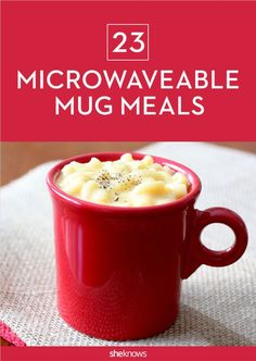 Pasta, pizza & so many other meal-in-a-mug recipes Microwaveable mug meals, It's not lazy — it's efficient. From pancakes to prawns, chilaquiles to chicken potpie, your on-the-go noshing just got a whole lot more baller. Microwave Mug Recipes, Microwave Pancakes, Healthy Microwave Meals, Microwave Breakfast, Microwave Dishes, Microwave Cake, Healthy Meals, Healthy Food, Mug Dinner