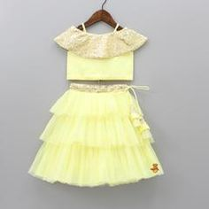 Pre Order: Yellow Off Shoulder Top With Layered Lehenga Pretty Dresses For Kids, Dresses Kids Girl, Girl Outfits, Girls, Yellow Off Shoulder Top, Off Shoulder Tops, Baby Dress Design, Frock Design, 12 Year Girl Dress