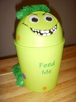 """Use trashcan to make """"monster"""" that goes with the book """"The Hungry Thing"""" - kids put words into the trash can """"feeding"""" the monster. :)"""