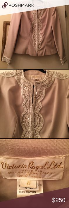 Vintage! Rare! Victoria Royal Ltd Beaded Blazer Absolutely perfect vintage designer blazer from Victoria Royal Ltd. Company made mostly beaded and sequined gowns from 1950s to 1970s. This beautiful blazer is in pristine condition. The beige color in the first picture is most accurate. Victoria Royal Ltd Jackets & Coats Blazers