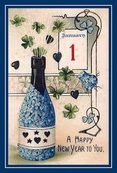 1907 ... another vintage card with Forget Me Nots and Shamrocks... love it.