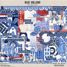 Blue Holland is a digital scrapbook kit that is perfect for your travel layouts. Have you visited Holland, do you love Delft Blue, this is the kit for you. Handdrawn elements in red, white and blue.