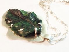 Malachite leaf pendant on sterling silver chain by TiarasNJewels on Etsy
