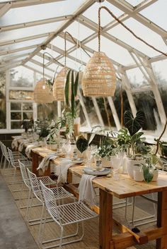 Exotic plants and greenhouse weddings are a match made in heaven! From the minimalist line art on the earth toned invitations to the monstera leaf cake, this inspiration is just what the doctor ordered. Forest Wedding Reception, Tent Reception, Rooftop Wedding, Wedding Reception Decorations, Table Decorations, Wedding Tables, Wedding Venues, Modern Tropical, Tropical Vibes