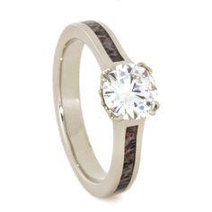 Deer Antler White Gold Moissanite Engagement Ring