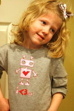 Cute Robot shirt Boutique child shirt Valentine shirt by eljahb, $18.00