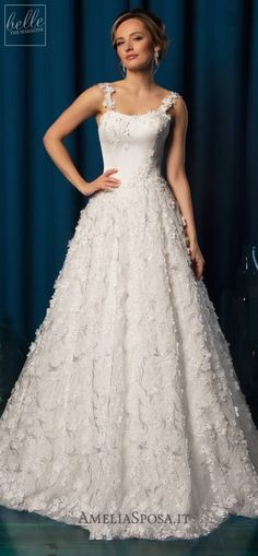 Amelia Sposa Wedding Dresses 2019 - Belle The Magazine A Line Bridal Gowns, Wedding Dresses With Straps, Dream Wedding Dresses, Wedding Gowns, Amelia Sposa Wedding Dress, Pin Up, Wedding Dress Gallery, Amazing Wedding Dress, Sophisticated Bride